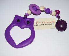 Spielkette aus Silikon mit Eule in lila beige