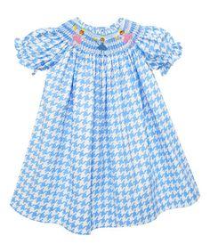 Love this Blue Houndstooth Smocked Bishop Dress - Infant, Toddler & Girls on #zulily! #zulilyfinds