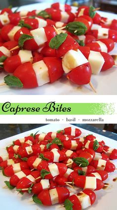 The perfect summer appetizer - Caprese Bites. Tomatoes, fresh mozzarella and basil - how can you go wrong? www.maryellenscookingcreations.com