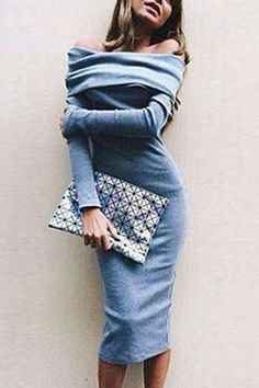 Blue Off-shoulder Bodycon Dress With Over-layer from mobile - US$19.95 -YOINS