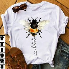 Let it be bee shirt funny Save The Bees Honey Bees Bumble T Shirt Painting, Fabric Painting, Geile T-shirts, Paint Shirts, Painted Clothes, Bee Design, Swagg, Trending Outfits, Shirt Designs