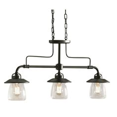 Zoomed: allen + roth 3-Light Mission Bronze Edison Style Island Light with Clear Shade - Kitchen table!