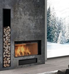 The fireplace is definitely asymmetrical with the way the wood acts as decor and function. Fireplace Tv Wall, Concrete Fireplace, Modern Fireplace, Living Room With Fireplace, Fireplace Surrounds, Contemporary Fireplace Designs, New Homes, House Design, Tv Camino