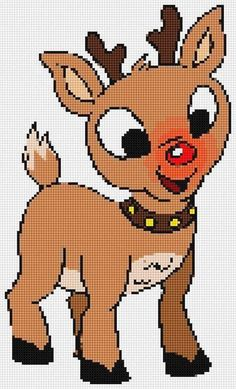 Rudolph the Red Nosed Reindeer Ultimate Chibi cross stitch and plastic canvas Plastic Canvas Letters, Plastic Canvas Ornaments, Plastic Canvas Christmas, Plastic Canvas Crafts, Cross Stitch Cards, Cross Stitch Baby, Cross Stitch Animals, Tissue Box Crafts, Traditional Christmas Ornaments