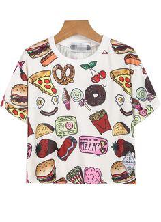 T-Shirt motif Fast Food -blanc 11.81