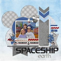 Spaceship earth - This is such a creative page. Love the papers, design, overlay, type, Everything! So clever.