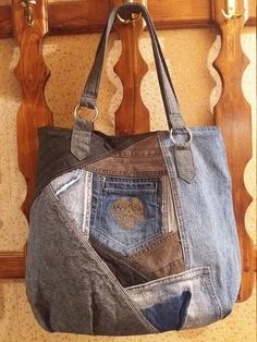 """Very butiful bag with aroma ,, Bulgarian Rozès """"My design is to create . - Very butiful bag with aroma ,, Bulgarian Rozes """"My design is to create beautiful things from recycl - Sacs Tote Bags, Denim Tote Bags, Denim Purse, Jean Purses, Purses And Bags, Moda Jeans, Denim Crafts, Recycled Denim, Patchwork Bags"""