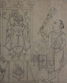 Priests, dressed as Krishna's foster parents, swinging the image of Navanitpriyaji in the shrine of Shri Nathj iduring the festival of Nandamahotsava. Brush-drawing on paper. Tanjore Painting, Krishna Painting, Krishna Art, Art Drawings For Kids, Outline Drawings, Art Drawings Sketches Simple, Pichwai Paintings, Indian Art Paintings, Brush Drawing