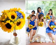 sunflower-themed-wedding (with one blue hydrangea in centerish of bridal arrangement) Wedding Theme Pictures, Wedding Colors, Wedding Bells, Our Wedding, Dream Wedding, Fall Wedding Bouquets, Flower Bouquet Wedding, Sunflower Bouquets, Sunflower Oil