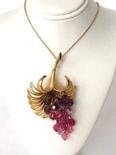 SIGNED Austrian Crystal Gold Flower PENDANT or BROOCH - Signed Park Lane - Aurora Borealis Purple, Fushia & Pink Crystals Unusual Fabulous!