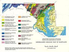 Generalized Geologic Map of Maryland, 1983 #maryland #geology