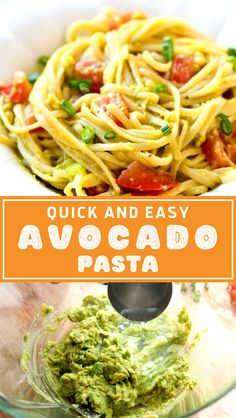 Avocado pasta is fast, fresh, and simple. The longest part of this recipe is cooking the pasta. The dairy-free avocado sauce is made in minutes. - The ingredients and how to make it please visit the website Light Pasta Recipes, Cheesy Pasta Recipes, Pasta Dinner Recipes, Dinner Recipes Easy Quick, Healthy Pasta Recipes, Sausage Recipes, Simple Recipes, Easy Meals, Pasta Lunch