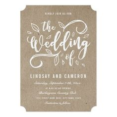 Rustic Romance | Faux Kraft Paper Wedding Invite Simple Wedding Invitations