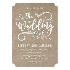 Rustic Romance | Faux Kraft Paper Wedding Invite Simple Wedding Invitations