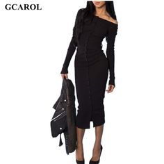 Women Euro Style Slash Neck Long Dress Single Button Bodycon Dress Stretch Slim Sexy Cotton Blends Dress Female Bascic Dress