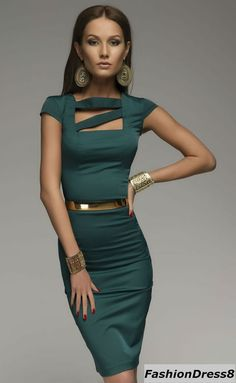 Elegant Formal Dark Green Dress Woman ,Classic Pencil Dress Fitted.