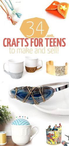 34 fun, functional crafts for teens to make and sell! What a great activity for teens and tweens - marketing handmade items and selling on Etsy! Here is a great list of DIY projects and ideas to start with. #teencrafts #diy #crafts #artsandcraftsshop,