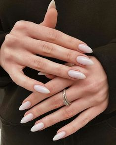 "WEDDING DIARY on Instagram: ""WEDDING NAILS GOALS ❤️ What do you think? Yay or nay?  Tag someone you know who would love this! ⠀  Follow @weddingpeace & #weddingpeace…"" Almond Acrylic Nails, Best Acrylic Nails, Minimalist Nails, Hair And Nails, My Nails, Glitter Nails, Oval Nails, Shellac Nails, Matte Nails"