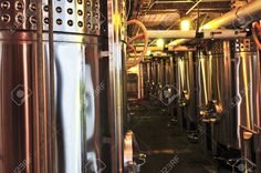 Wine Making Vats And Equipment In Tour Of Winery Stock Photo .