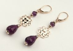 Amethyst Gems, Dangle Earrings in Sterling Silver 925 Rose Gold Plated 24 Kt, Handmade Italian Jewelry, Tuscany's Products, Gift  7264