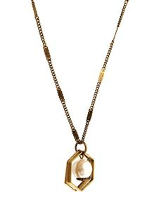 Enlarge Limited Edition Faux Pearl Hexagon Long Necklace