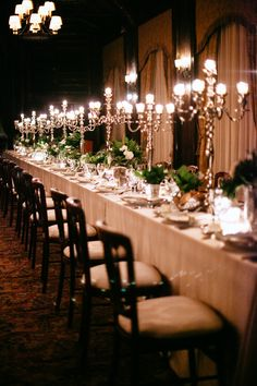 #candelabra  Photography: Joel Bedford - www.joelbedfordweddings.ca  Read More: http://www.stylemepretty.com/2014/10/24/cozy-canada-winter-chateau-wedding/
