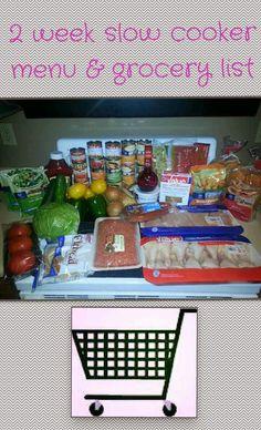 Grocery list and recipes for 2 weeks of freezer crockpot meals!!! #organized #shoppingonabudget #crockpot