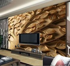 3D Wallpaper Mural Leaves Tree Wall Paper Background Custom Size