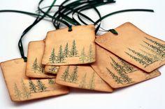 Christmas Tags, Evergreen trees, vintage inspired tag, Gift tags, Christmas Holiday favor tags, Christmas Tree, Green Pine trees by ThePurpleTable on Etsy