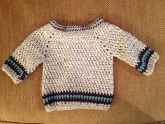 Easy baby sweater. I added the color and omitted the bumpy rows