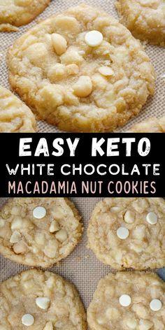 White Chocolate Macadamia, White Chocolate Chip Cookies, Keto Chocolate Chips, White Chocolate Desserts, Healthy Low Carb Recipes, Keto Recipes, Dessert Recipes, Cookie Recipes, Dinner Recipes