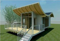 the uniquely shaped roof is supposed to help keep it cool in summer and warm in winter with the integrated solar panels