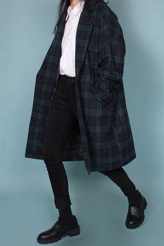 Wool Check Long Coat - Crush Cul de Sac