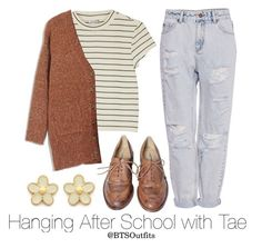 """""""Hanging After School with Tae"""" by btsoutfits ❤ liked on Polyvore featuring Studio TMLS, Monki, Pull&Bear and Marc by Marc Jacobs"""