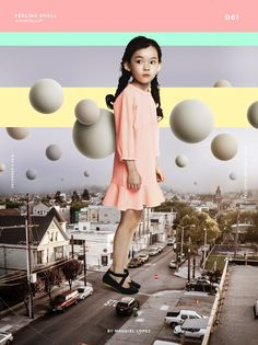 Proportion - The smaller balls recede into the background while the larger ones come to the front. The girl is larger than everything else, including the houses, causing her to be out of proportion and therefore is given greater importance to the message of the design.