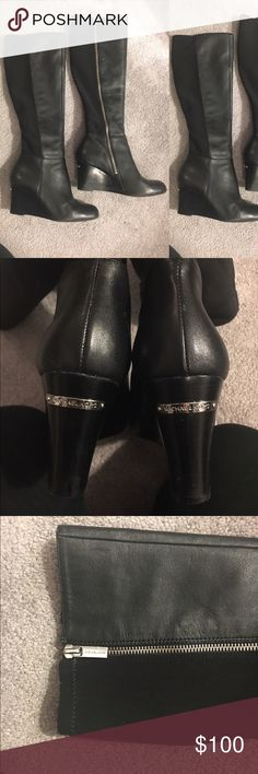 Michael Kors Bromley wedge tall leather boots Authentic Michael Kors leather boots. Elastic back on calf. Zipper on inside. Size 7. Silver Michael Kors tag on back of heel. Sold out online. Michael Kors Shoes Heeled Boots