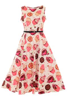 """The Famous """"Lady Vintage"""" Audrey Hepburn Dress features a full 1950s style flared...  Love this print!!"""