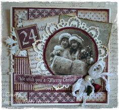 "Christmas Card by LLC DT Member Tina Klix, using papers from Maja Design's ""It's Christmas Time"" collection. The image is from Pion Design."