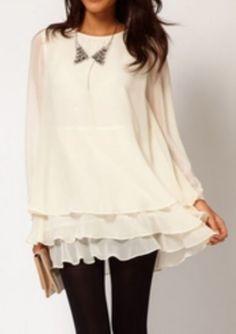 Beige Long Sleeve Cascading Ruffle Chiffon Dress pictures