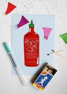 Sriracha Chili Sauce print.
