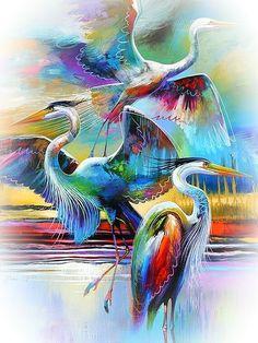 Contemporary Tropical Bird Art Modern Tropical Bird Reproduction Lift Off 4 Abstract Egret Print Blue Heron Art Abstract Bird Art - Painting Contemporary Art Prints, Modern Canvas Art, Modern Art, Fine Art Prints, Modern Tropical, Tropical Art, Tropical Birds, Art Koi, Black And White Artwork