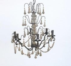 W/Blk 6 Light Chandelier – Unique Wood