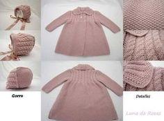Paz Rodriguez Baby Girls Pink Pram Coat and Bonnet Knitting For Kids, Baby Knitting Patterns, Baby Patterns, Free Knitting, Tricot Baby, Kids Tops, Knitted Baby Clothes, Baby Coat, Baby Cardigan