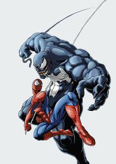 Venom Spiderman, Spiderman Art, Batman Vs Superman, Amazing Spiderman, Marvel Comics Art, Marvel Dc Comics, Marvel Heroes, Spiderman Pictures, Symbiotes Marvel