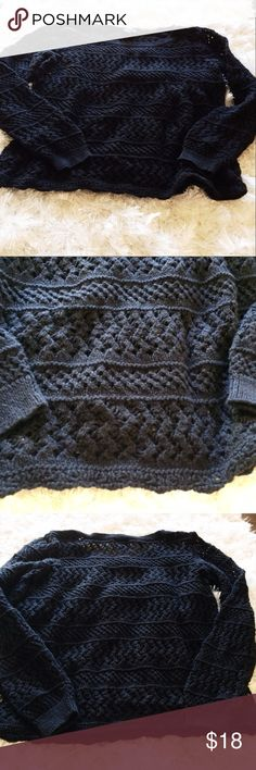 "A.N.A. Medium Women's Black Crochet Sweater 20"" long, 23"" sleeve. Used but good condition. Machine wash cold. 55% ramie and 45% cotton. Made in China. You'll want to wear something underneath this. a.n.a Sweaters"