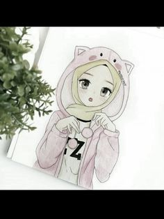 Muslim Couple Photography, Hijab Drawing, Architecture Drawing Art, Islamic Cartoon, Hijab Cartoon, Cute Cartoon Pictures, Anime Family, Islamic Girl, Funny Drawings