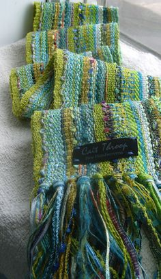 Gathering materials for inspiration.I knew I wanted summer colors: bright, cheerful, fresh and full of life. Weaving Textiles, Weaving Patterns, Loom Weaving, Hand Weaving, Woven Scarves, Weaving Projects, Tear, Weaving Techniques, Loom Knitting