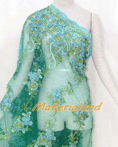By meter Mint Green Flower Embroided Sequinned Lace Net Crafts Fabric #FA02E