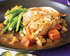 Chicken on a Bed of Sauteed Leeks and Sweet Potatoes, from Food & Drink  - I love that this is all in one dish!