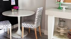 Dining Room Round White Dining Table Black Dotted Dining Chair Flower Vase Teaset Side Board Plate Cuttelry Grey Marble Tiles Painting How to Make the Most of Small Dining Room
